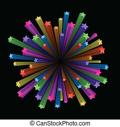 Colorful stars explode - Vector illustration of colorful...