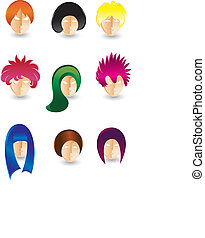 Hair styling - Set of vector hair styling