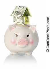 Investment priority - Money house piggyback on piggy bank on...