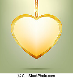 Golden pendant in shape of heart on chain. EPS 8