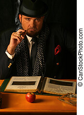 big business - big sinister business man smoking a cigar