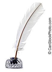 blanco, pluma, púa, pluma, tintero, aislado