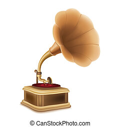 gramophone - antique gramophone on white background