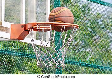 Basketball hoop on a backboard and ball - Basketball hoop on...