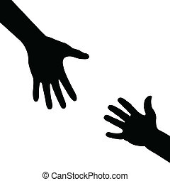 silueta, mão, ajudando, mão