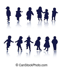 kids, children, baby silhouettes