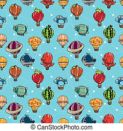 seamless hot air balloon pattern