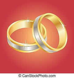 Wedding Rings - Vector illustration of gold and silver...