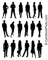 Business people, silhouette, figure on the white background