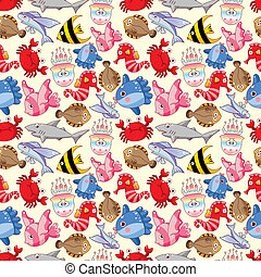 seamless fish pattern  - seamless fish pattern