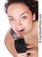 Girl Singing In Retro Mic)