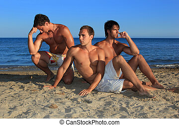 Men Relaxing On the Beach
