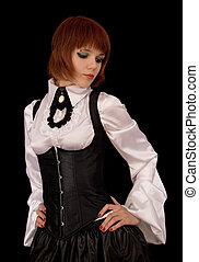 Beautiful girl in Victorian white silk shirt and corset,...
