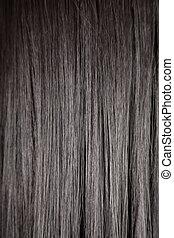 pretas, brilhante, direito, cabelo