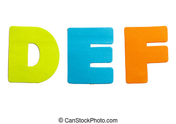 Letter DEF - A set of alphabet letters in the form of...