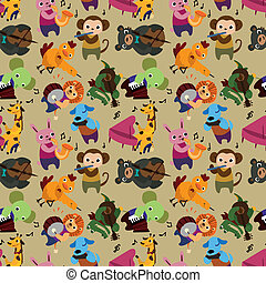 seamless animal music pattern