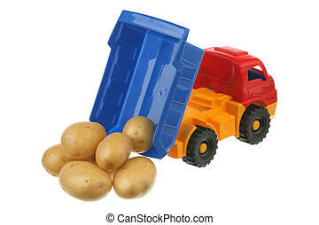 Potato in the truck it is isolated on a white background