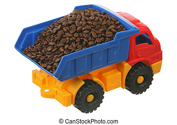 Coffee grains in the truck are isolated on a white...