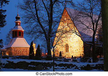 christmas night scenery in Finland, church in snow, xmas...