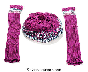 Violet knitted winter hat and sleeve covers on white...
