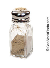 Glass pepper shaker insulated on white background