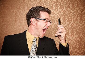 hombre, contra, teléfono