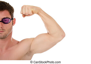 Young  man swimmer, muscles