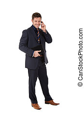 Attractive businessman phone talking - Attractive caucasian...