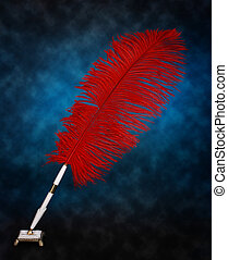 feather pen - nice oldfashion red feather pen
