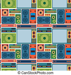 tv radio seamless pattern  - tv radio seamless pattern