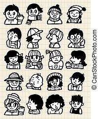 cartoon people doodle  - cartoon people doodle