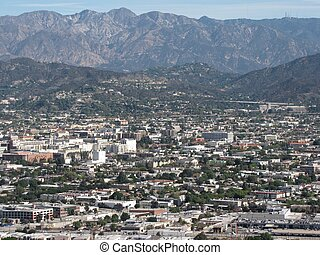Burbank Aerial - Aerial view of Burbank, CA from Griffith...