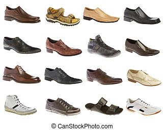 Sixteen mans shoes on a white background