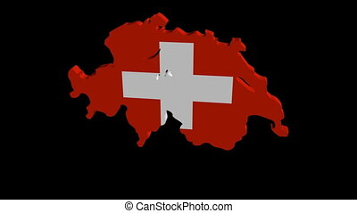 Swiss map flag rotate animation - Swiss map flag rotating on...