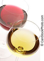 Red and white wine - Two glasses of red and white wine...