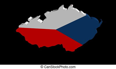 Czech Republic map flag rotating