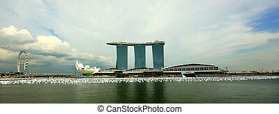 Singapore Marina Bay Sands - A view of marina bay sands with...