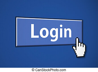 Login button with mouse cursor