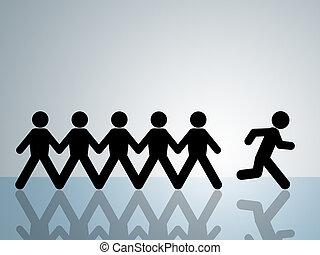 run away - paper chain figure runs away from group breakout...