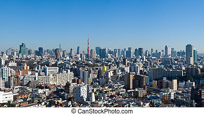 Blue sky panoramic view over downtown Tokyo, Tokyo tower in...