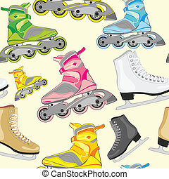 isolated roller and ice skates - fully editable vector...