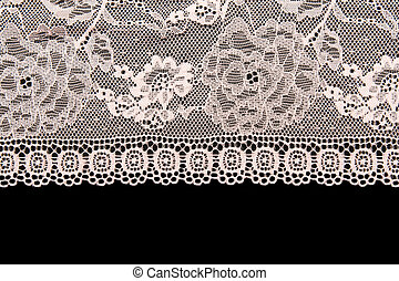 Pink lace with a floral pattern on a black background