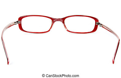 Stylish red glasses on a white background