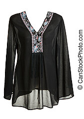 Feminine blackenning blouse with decoration by collar