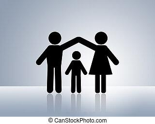 seguro, hogar, niño, protección