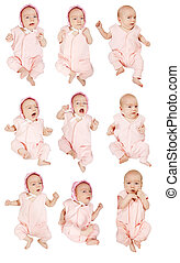Set of 9 little baby girl Isolated on white with clipping...
