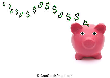 Putting money into your bank account - A pink piggy bank on...