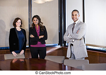 Diversity in workplace, boardroom meeting - Multiethnic...
