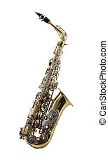 Sax musical instrument on tne white background