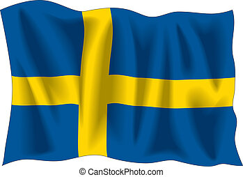 Swedish flag - Waving flag of Sweden isolated on white